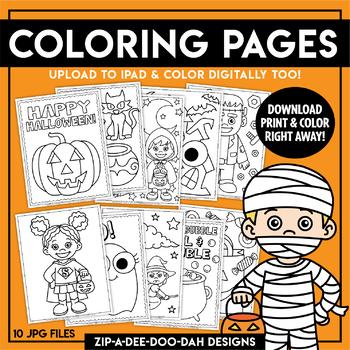 Printable Halloween Coloring Pages {Zip-A-Dee-Doo-Dah Designs}