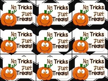 Printable Halloween Gift Tag (No Tricks Just Treats)