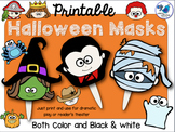 Printable Masks: Halloween (Color and BW) Whimsy Workshop Teaching