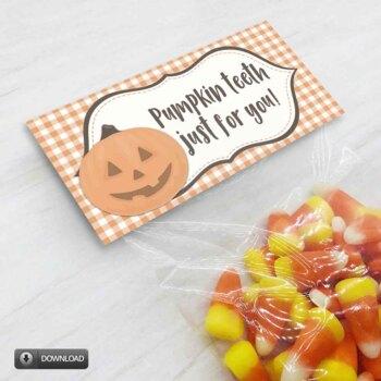 Printable Halloween Pumpkin Teeth Treat Bag Toppers, Halloween Party Favors