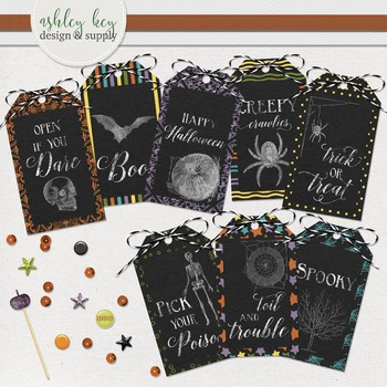 Printable Halloween Tags for Party Favors, Chalkboard Labels