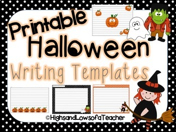 photo about Printable Halloween Paper called Printable Halloween Composing Paper (Templates)