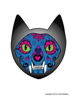 photograph relating to Cat Mask Printable called Printable Halloween or Working day of the Lifeless Sugar Skull Cat Masks