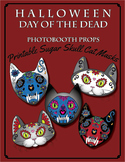 Printable Halloween or Day of the Dead Sugar Skull Cat Masks