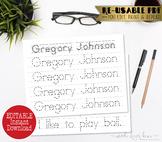 Printable Handwriting Worksheet, Editable Name Print Practice, Letter Tracing