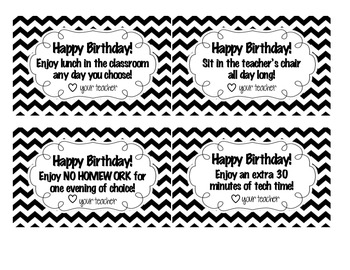 Printable Happy Birthday Coupons for Students -- chevron!