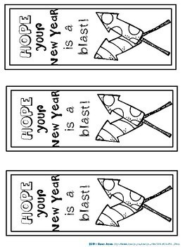 Bookmarks For Students to Color: Happy New Year