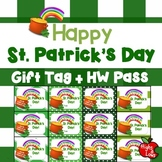 """Printable """"Happy St. Patrick's Day"""" Gift Tag and Homework Pass"""