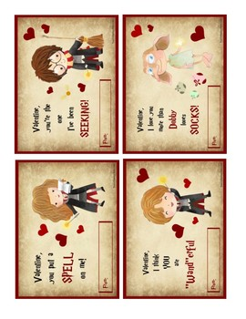 picture about Printable Harry Potter Spells referred to as Printable Harry Potter Valentines Playing cards