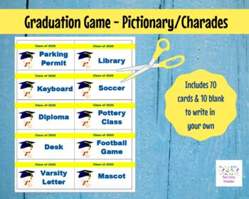 photo about Printable Pictionary Cards titled Printable Substantial Faculty Commencement 2019 Variation Match Playing cards for Pictionary/Charades