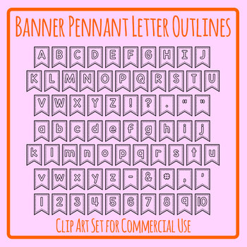 Printable Hollow Banner / Flag / Pennant Letters Clip Art Commercial