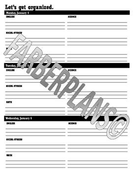 Printable Homework & Agenda Worksheets- Middle School & Hi