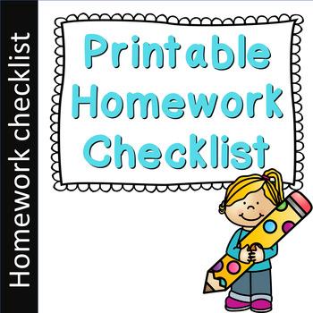 Printable Homework Checklist