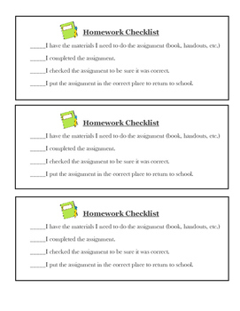Printable Homework Checklist