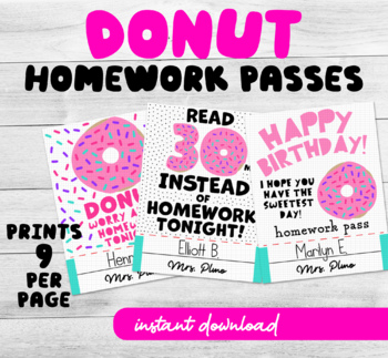 Printable Homework Pass Donut theme