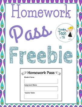Printable Homework Pass - FREEBIE!