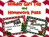 Printable Homework Pass and Happy Holidays Gift Tag