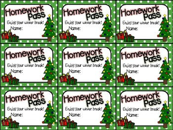 Printable Homework Pass for Winter Holidays