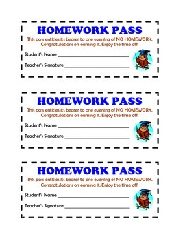Printable Homework Passes
