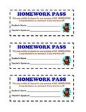 Printable Homework Passes