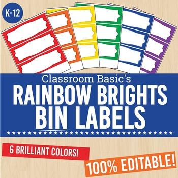 Rainbow Brights Printable Bin Labels (Editable!) - 6 Colors!