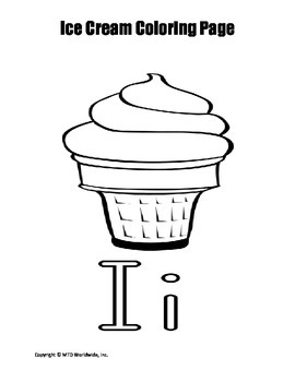 Printable Ice Cream Cone Coloring Page Worksheet