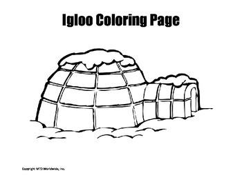 Printable Igloo Coloring Page Worksheet