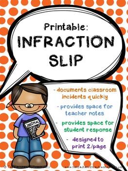 Printable: Infraction Slip
