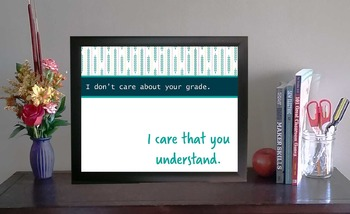 Printable Inspirational Classroom Poster | I Care That You Understand