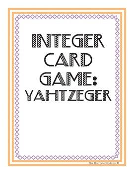 Printable Integer Card Game: Yahtzeger