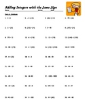 Printable Integer Worksheets:Addition, Subtraction, Double Negatives (288 total)