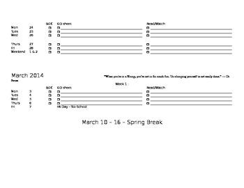 Printable Intermediate Student Planner