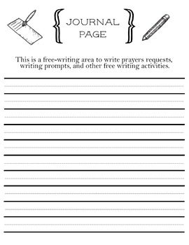 Prayer Request Printable Journal Page with Helper Lines for Young Writers