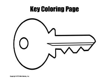Printable Key Coloring Page Worksheet