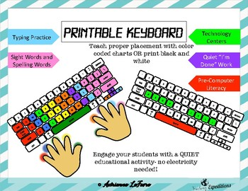 Printable Keyboard For Typing Practice By Teaching Expeditions Tpt