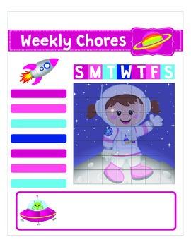 Printable Kid´s Astronaut Girl Chart