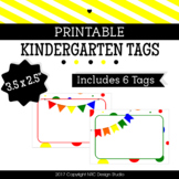 Printable Tags, Kindergarten, Labels, Name Tags - Classroom Decoration