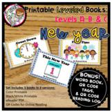 Printable Kindergarten Leveled Books - New Year Levels A, B, C
