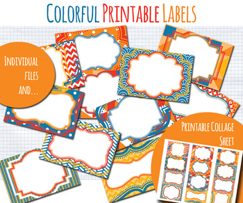Printable Labels: Colorful Red, Blue, Yellow Digital Collage Sheet