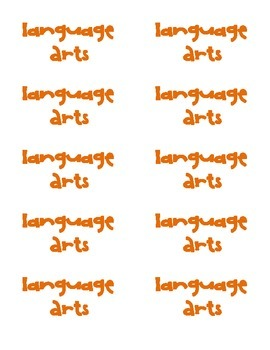 Printable Labels for Language Arts, Science, Math, and Spelling