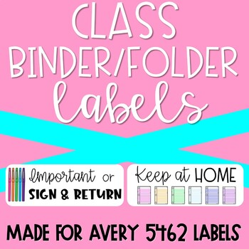 Printable Labels for Student Take Home Class Folders Binders