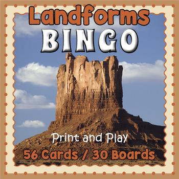 Printable Landforms Bingo Vocabulary Game
