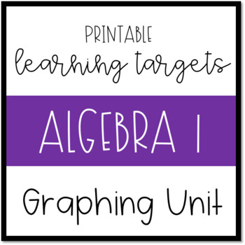 Printable Learning Targets--Algebra 1 Graphing Unit