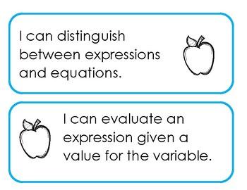 Printable Learning Targets--Algebra 1 Pre-Algebra Unit