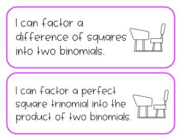 Printable Learning Targets--Algebra 1 Quadratics Unit