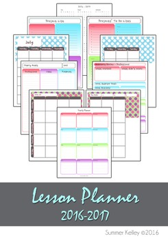 Printable Lesson Plan Book (2016-2017)