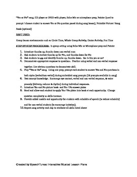 Printable Lesson Plan: Answering Yes No Questions