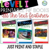 Printable Leveled Reading Books Nonfiction Level I Tons of Text Features