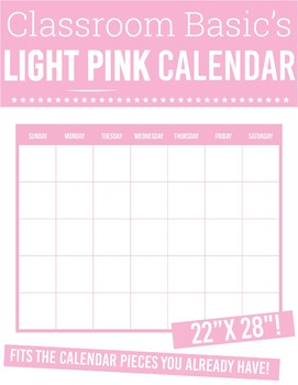 "Printable Light Pink Calendar (22""X28""!)"