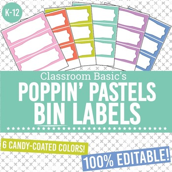 Poppin' Pastels Printable Bin Labels (Editable!) - 6 Colors!